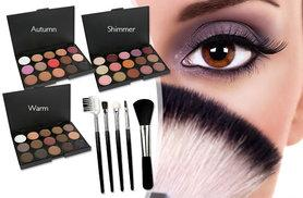£3.99 instead of £38.98 (from LaRoc) for a 15-colour eyeshadow palette and a five-piece makeup brush set - choose from warm, shimmer or autumn palettes - save 90%