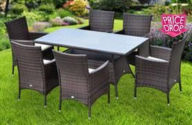 £269 instead of £670 for an Outsunny seven-piece rattan dining set including a glass topped table and six chairs - save 60%