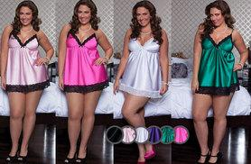£7 instead of £25.99 (from EFMall) for a plus size lace-trimmed babydoll – choose from six colours and save 73%