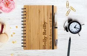 £8.99 instead of £24.49 (from Shop Sharks) for a personalised bamboo notebook and pen - get jotting and save 63%