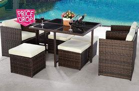 £289 instead of £970 (from Costway) for a nine-piece rattan dining cube set - choose dark brown or black and save 70%