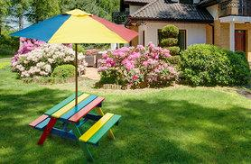 £28 instead of £119.01 (from Vivo Mounts) for a children's picnic bench with parasol - save 76%