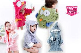 £9.99 instead of £26 (from Last Chance Supply Co) for a hooded baby bathrobe – choose from five adorable animal designs and save 67%