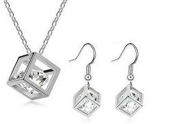 £8 instead of £98 (from Candy Chic) for a silver plated crystal cube set including a necklace and earrings - save a sparkling 92%