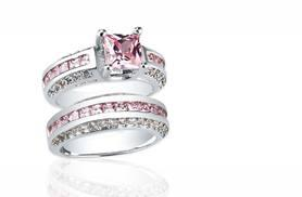 £19 instead of £299 (from Clear Crystal) for a pink sapphire ring duo set - save 94%