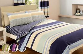 £10 (from Your Essential Store) for a single striped duvet set, £12 for a double, £14 for a king or £17 for a super king - save up to 75%