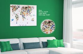 £10.99 (from Your Perfect Canvas) for a medium animal world map canvas , £14.99 for large, £29.99 for extra-large - save up to 80%