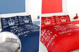 From £7.99 for a single, double, king or super king 'Keep Calm' duvet and pillow case set from Wowcher Direct - save up to 78%