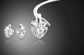 £14 instead of £200 (from Zoo Jewellery) for a solitaire heart pendant and earrings set made with Swarovski Elements - sparkle and save 93%