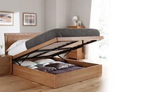 £199 for a double oak ottoman storage bed, £239 for king size from Mattress Shed