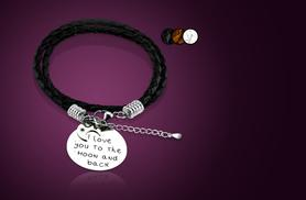 £9 instead of £45 (from Cian Jewels) for a stainless steel and leather 'I love you to the moon and back' bracelet - save 80%