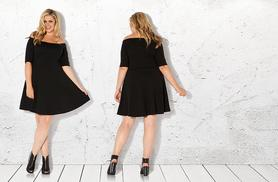 £10 instead of £20 (from Pink Clove) for a black Bardot skater dress in sizes 16-28 - save 50%