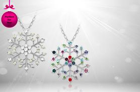 £9 instead of £58 (from Evoked Design) for a white gold-plated snowflake design necklace made with Swarovski Elements - save 84%