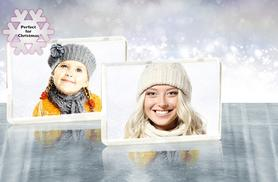 £5.99 instead of £11.99 (from Great Photo Gifts) for a glitter snow photo block, or £9.99 for 2 - get a festive frame and save up to 50%