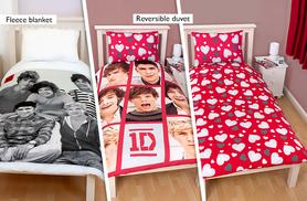 £29 instead of £64.99 for a 5-piece One Direction bedroom set including curtains, single duvet set, cushion and blanket from Wowcher Direct - save 61%