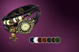 £8 instead of £45 (from Cerichic) for a vintage-style leather wraparound bracelet watch, £14 for two - save up to 82%