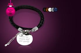 £9 instead of £45 (from Cian Jewels) for a personalised leather message bracelet - choose from 5 colours and save 80%