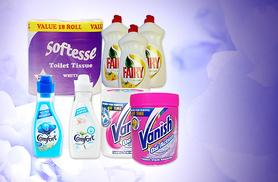 £19.99 instead of £55.99 for a 25-piece home essentials bundle including toilet roll, washing up liquid & more from Wowcher Direct - save 64%