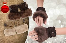 £4.99 instead of £22.99 (from Boni Caro) for a pair of knitted wool and faux fur gloves - save 78%