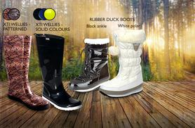 £12 (from Mrs Marcos) for a pair of wellies in a choice of 6 designs and various colours, £24 for a pair of ankle boots or polar snow boots - save up to 66%
