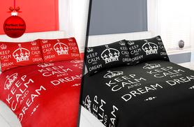 From £7.99 for a single, double, king or super king size 'Keep Calm' duvet and pillow case set from Wowcher Direct - save up to 78%