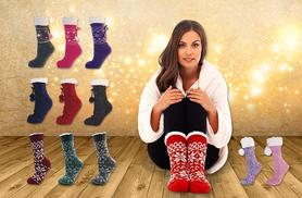 £6 instead of £19 (from Urshu) for 2 pairs of ladies' Fairisle fleece-lined slipper gripper socks in a choice of 7 patterns - save 68%
