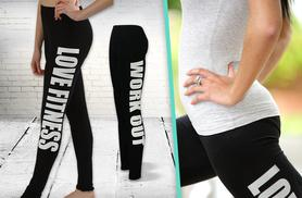 £5 instead of £8.96 (from Karma Clothing) for a pair of slogan 'workout' leggings - choose from 2 styles and save 44%