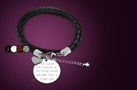 £9 instead of £45 (from Cian Jewels) for an engraved family quote leather bracelet - choose your favourite family member and save 80%