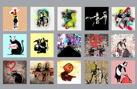 """£9 instead of £44.99 (from Your Perfect Canvas) for a 12""""x12"""" Banksy canvas or £12 for an 18""""x18"""" canvas - save up to 80%"""