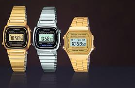 £16.99 for a silver Casio retro-style digital watch, £21.99 for a gold women's watch or £24.99 for a unisex gold watch from Wowcher Direct - save up to 32%