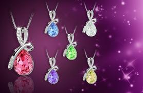 £8 instead of £59 (from Alvi's Fashion) for an 18k white gold plated water drop pendant necklace - choose from six colours & save 86%