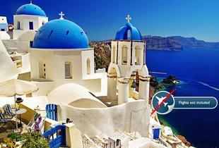 £49 (from Blue Diamond Bay) for a three-night Santorini stay for two people with a carafe of wine, £69 for four nights or £79 for five nights - save up to 74%