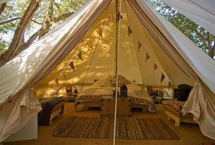 £159 for a 4-night weekday glamping break for up to 4 people, or £189 for a 3-night weekend break at Wye Glamping, Brecon - stay in a bell tent and save up to 42%