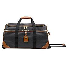 Buy Mulberry Scotchgrain Albany Wheeled Duffle Bag, Black/Cognac Online at johnlewis.com