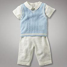 Buy John Lewis Baby 3 Piece Christening Set, Ivory/Blue Online at johnlewis.com