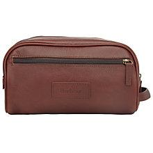 Buy Barbour Leather Wash Bag, Dark Brown Online at johnlewis.com