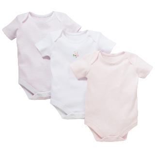 Buy John Lewis Flower Bodysuits, Pack of 3, Pink Online at johnlewis.com