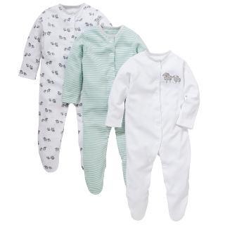 Buy John Lewis Sheep Sleepsuits, Pack of 3, Green/White Online at johnlewis.com