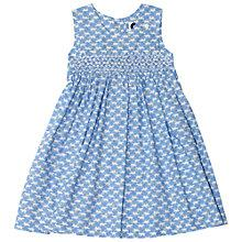 Buy Question Everything Girls' Cat Print Hand Smocked Dress, Blue Online at johnlewis.com