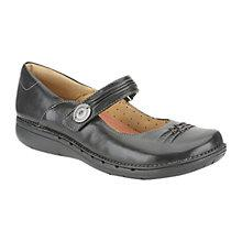 Buy Clarks Un Linda Leather Loafers, Black Online at johnlewis.com