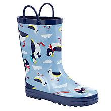 Buy John Lewis Childrens' Puffin Wellington Boots, Blue/Multi Online at johnlewis.com
