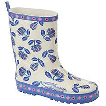 Buy John Lewis Girl Flowered Fruit Print Wellington Boots, Cream/Purple Online at johnlewis.com