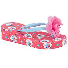 Buy John Lewis Girl Floral Print Wedge Flip Flops, Pink/Multi Online at johnlewis.com