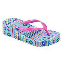 Buy John Lewis Girl Aztec Wedge Flip Flops, Pink/Multi Online at johnlewis.com