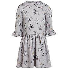 Buy John Lewis Girl Bird Print Collared Dress, Grey Online at johnlewis.com