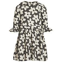 Buy John Lewis Girl Flower Print Collared Dress, Black/Cream Online at johnlewis.com