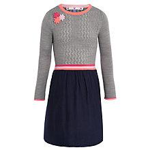 Buy John Lewis Girl Knit Pointelle Dress, Grey/Navy Online at johnlewis.com