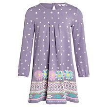 Buy John Lewis Girl Border Print Jersey Dress, Purple Online at johnlewis.com