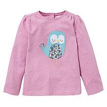 Buy John Lewis Marl Owl Motif T-Shirt, Pink Online at johnlewis.com