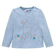 Buy John Lewis Marl Stitched Deer T-Shirt, Blue Online at johnlewis.com